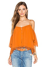Georgette Shoulderless Top en Rust