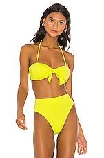 NICHOLAS Tie Front Bikini Top in Fluorescent Lime