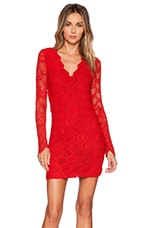 Victorian Lace Long Sleeve Dress in Lipstick