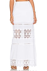 Diamond Lace Maxi Skirt in White