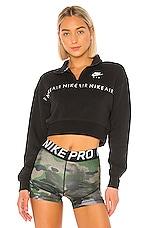 Nike Air Half Zip Crop Brush Back Pullover in Black