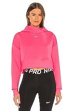 Nike Clean Fleece Hoodie in Digital Pink & Metallic Silver