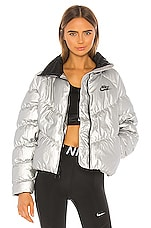 Nike Puffer Jacket in Metallic Silver