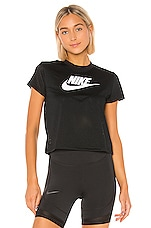 Nike Heritage Short Sleeve Mesh Top in Black