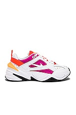 Nike Women's M2k Tekno Sneaker in White, Fuchsia, Crimson & Orange
