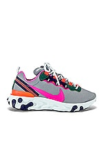 Nike Women's React Element 55 Sneaker in Grey, Fuchsia & Crimson