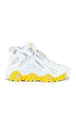 Nike Air Barrage Mid Sneaker in White, Chrome, Yellow & Black