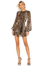 NILI LOTAN Rebeca Dress in Brown Leopard Print