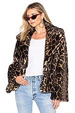 NILI LOTAN Sedella Faux Fur Coat in Leopard