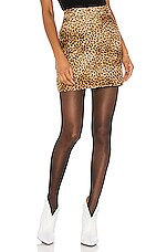 NILI LOTAN Rivoli Skirt in Golden Baby Leopard Print