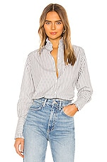 NILI LOTAN Vivian Button Down in Grey & White Stripe
