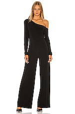 Norma Kamali Long Sleeve Drop Shoulder Jumpsuit in Black