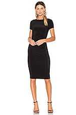 Norma Kamali Short Sleeve Shirred Dress in Black