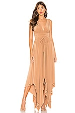 Norma Kamali Goddess Dress in Sun Tan