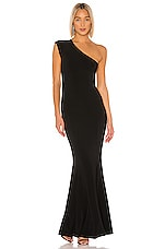 Norma Kamali One Shoulder Fishtail Gown in Black