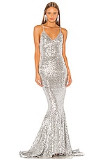 Norma Kamali Sequin Mermaid Fishtail Gown in Silver