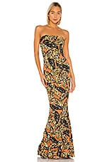 Norma Kamali Strapless Fishtail Gown in Orange Falling Leaves