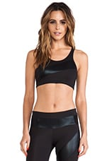 Spliced Sports Bra in Black & Black Foil