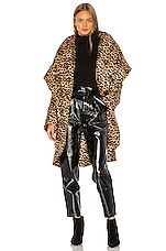 Norma Kamali Shawl Collar Coat in Golden Leopard