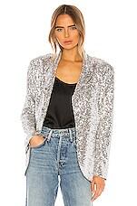 Norma Kamali Sequin Single Breasted Blazer in Silver