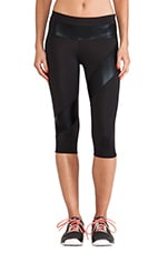 Spliced Diagonal Capri Legging in Black & Black Foil