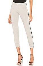 Norma Kamali Side Stripe Jog Pant in Heather Grey & Engineered Stripe