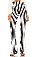 Norma Kamali Boot Pant in Grey & Black Stripe