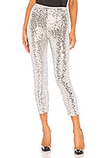 Norma Kamali Overlapping Sequin Legging in Silver
