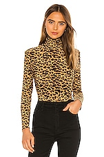 Norma Kamali Turtle Bodysuit in Golden Leopard