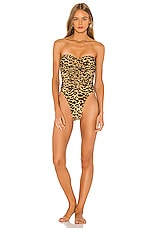 Norma Kamali Slinky Marissa One Piece in Golden Leopard