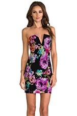 V-Front Bustier Dress in Flowerpop/Black