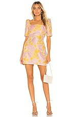 Nookie Solana Sleeve Mini Dress in Pink & Yellow