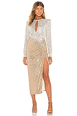 NONchalant Lena Sequin Maxi Dress in Silver & Gold