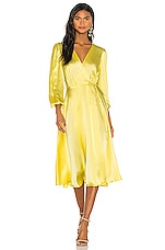 NONchalant Wrap Silk Midi Dress in Yellow