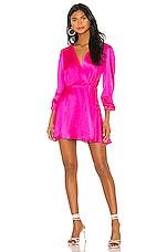 NONchalant Wrap Silk Mini Dress in Hot Pink