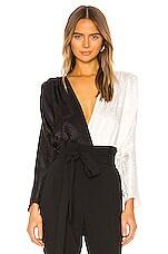 NONchalant Cora Color Block Bodysuit in White & Black