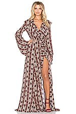 NOVELLA ROYALE Lenny Maxi Dress in Rust Hudson Stripe