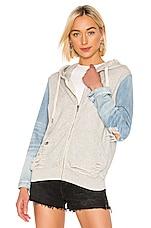 NSF Gretchen Zip Up Denim Sleeve Hoodie in Heather Grey