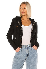 NSF Nala Double Layer Zip Denim Jacket in Vintage Black