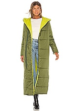 NSF Francine Full Length Puffer Jacket in Olive