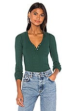 NSF Indie Front Snap Henley in Pitch Green