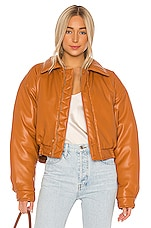 Nanushka Bomi Faux Leather Bomber Jacket in Burnt Orange