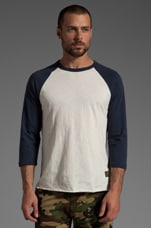 Old Timey Slub Raglan in Natural/Mood Indigo