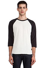 Old Timey Slub Raglan en Natural/Jet Black