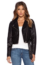 City Moto Vegan Leather Jacket in Black