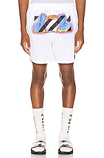 OFF-WHITE Thermo Mesh Shorts in White Multi
