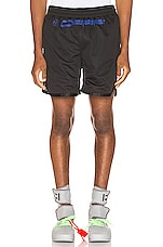 OFF-WHITE Hardcore Caravag Mesh Short in Black & Blue