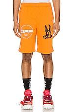 OFF-WHITE Cartoon Sweatshorts in Orange & Black