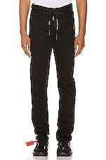 OFF-WHITE Diagonal Stripe Slim Jeans in Black