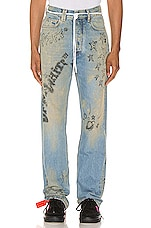 OFF-WHITE Wizard Relaxed Fit Jeans in Extreme Bleach